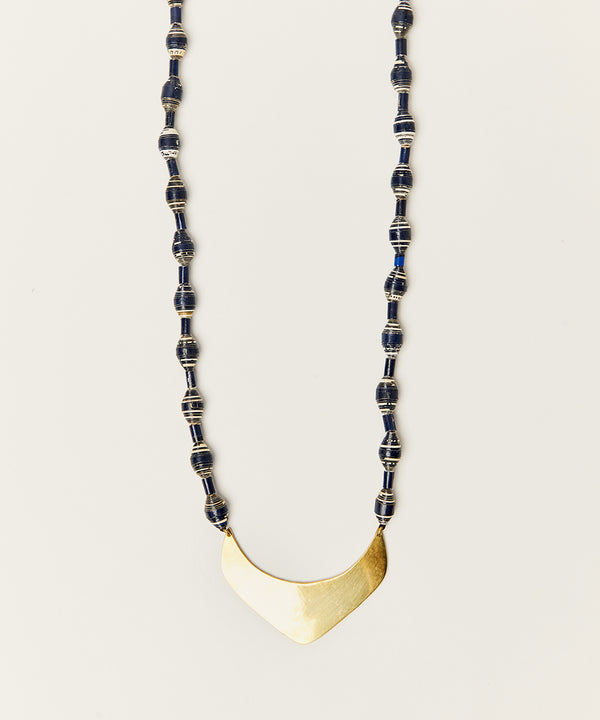 APSARA NECKLACE WITH PAPER BEADS & BRASS BULLET HARDWARE