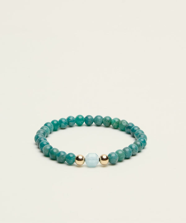 EMPOWERMENT BRACELET WITH AQUAMARINE, AMAZONITE & 14K GOLD
