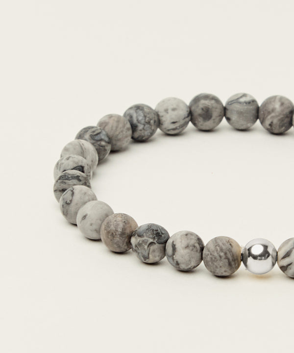 ENLIGHTENMENT BRACELET WITH MAP JASPER & STERLING SILVER