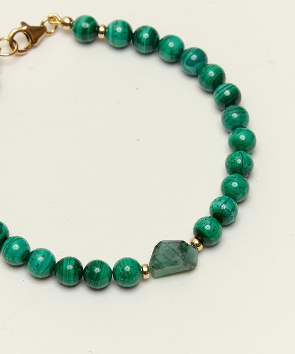 HIGHER ABUNDANCE BRACELET WITH EMERALD, MALACHITE & 14K GOLD (LIMITED EDITION)