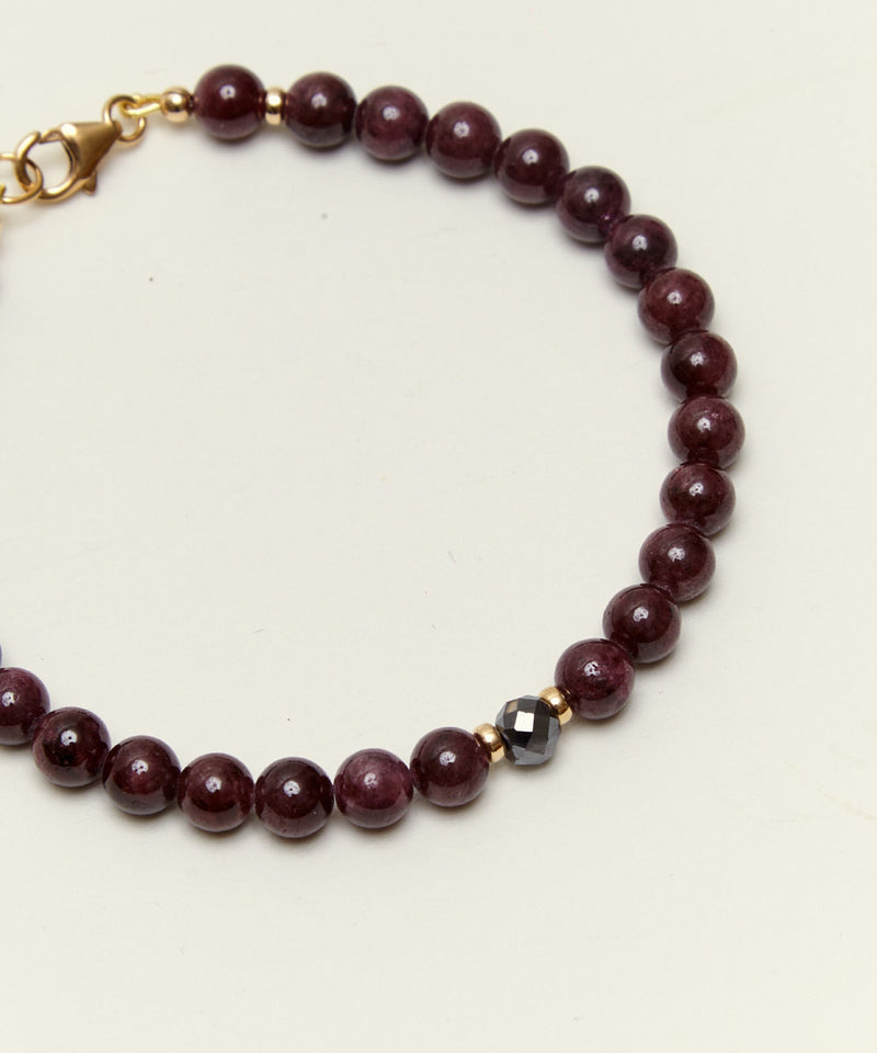 HIGHER FULFILMENT BRACELET WITH BLACK DIAMOND, GARNET & 14K GOLD (LIMITED EDITION)