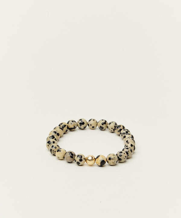 KIDS BRACELET WITH DALMATION JASPER & 14K GOLD