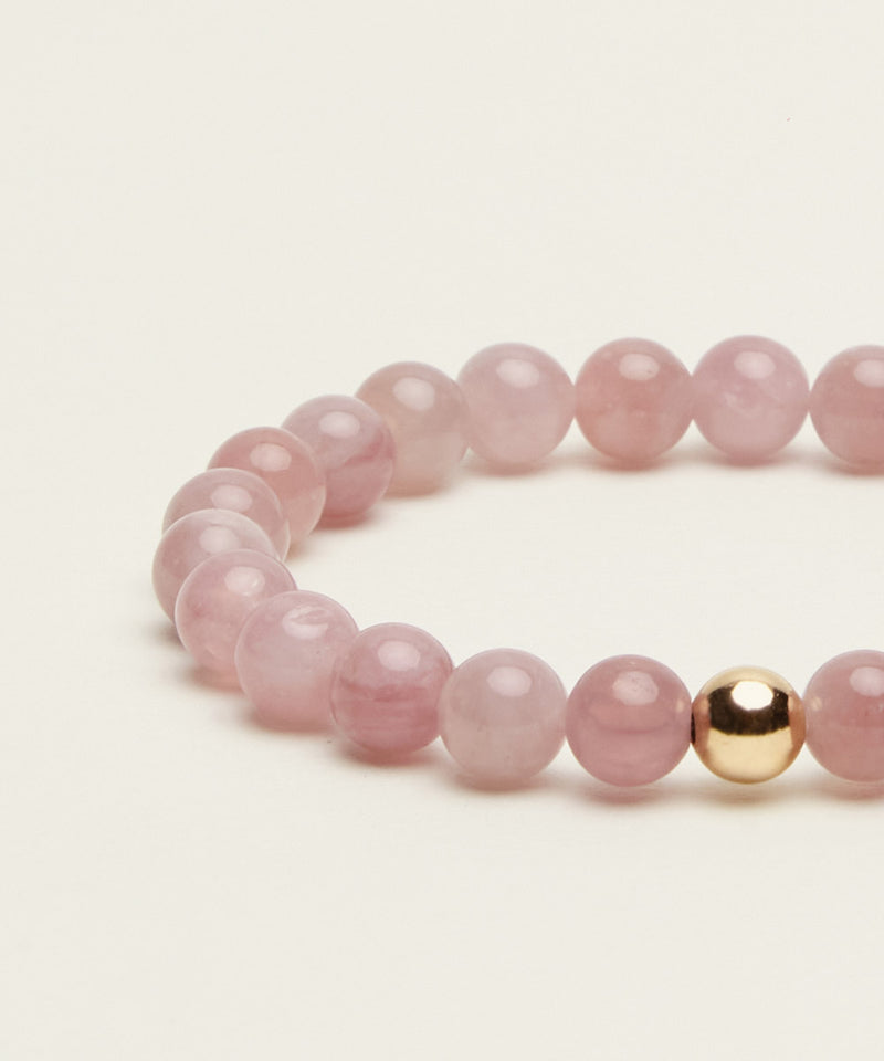 KIDS BRACELET WITH MADAGASCAR ROSE QUARTZ & 14K GOLD