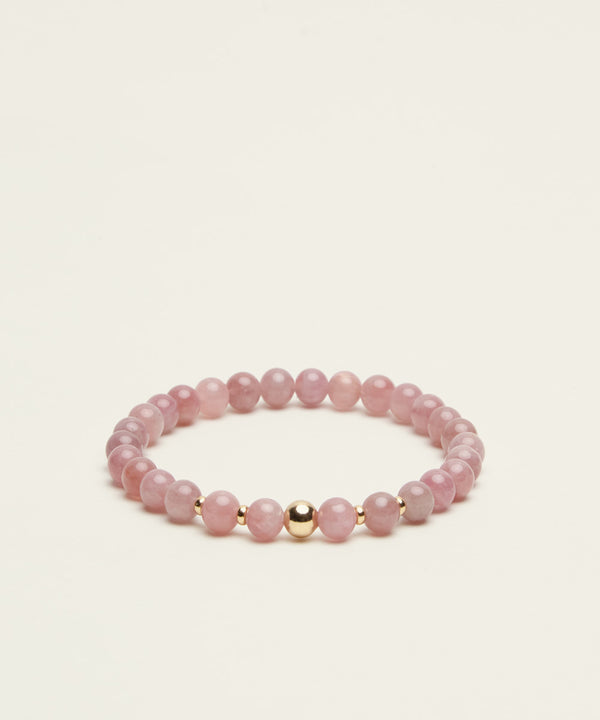 LOVE BRACELET WITH MADAGASCAR ROSE QUARTZ & 14K GOLD