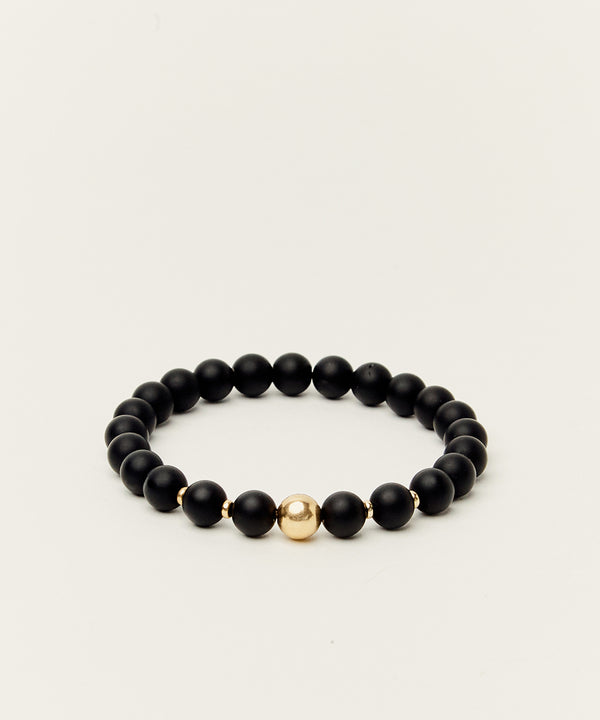 MONSIEUR BLACK BRACELET WITH ONYX & 14K GOLD