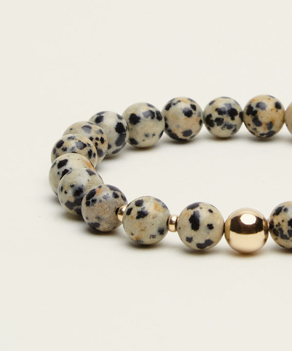 MR JOY BRACELET WITH DALMATIAN JASPER & 14K GOLD