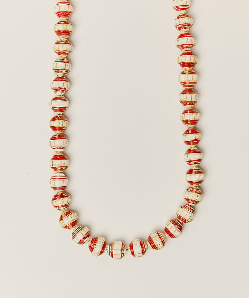 NECKLACE WITH RED PAPER BEADS