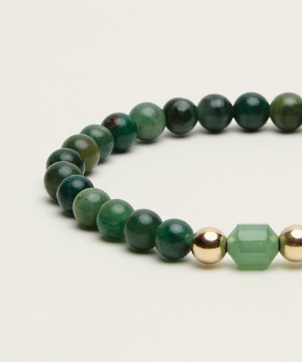 NEW BEGINNINGS BRACELET WITH AVENTURINE, AFRICAN JADE & 14K GOLD