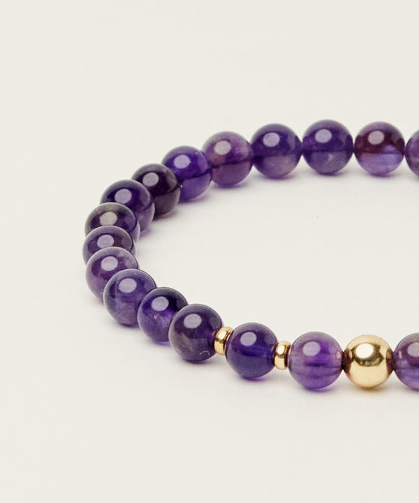 PEACE BRACELET WITH AMETHYST & 14K GOLD