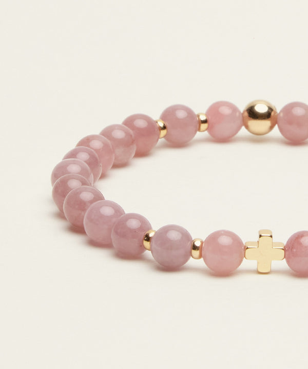 SACRED LOVE BRACELET WITH MADAGASCAR ROSE QUARTZ & 14K GOLD