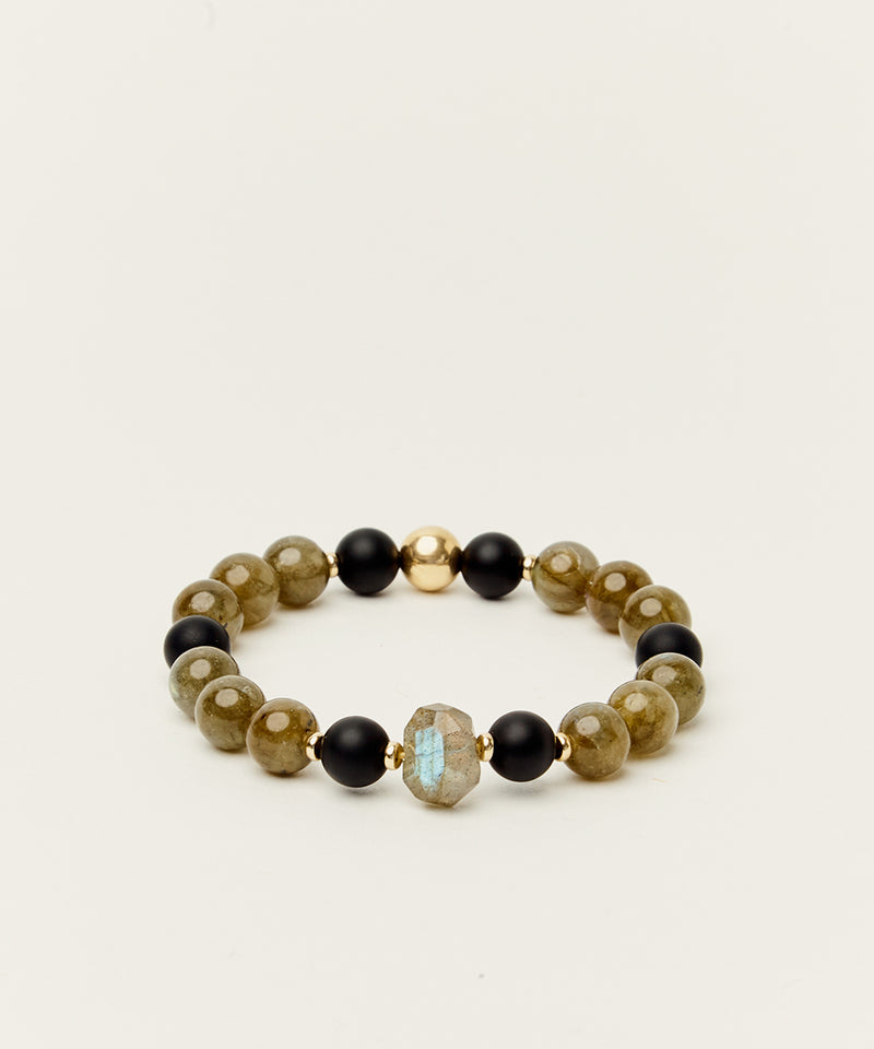 ST MINTY TRANSFORMATION BRACELET WITH LABRADORITE, ONYX & 14K GOLD