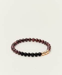 THE REX BRACELET WITH GARNET, ONYX & 14K ROSE GOLD