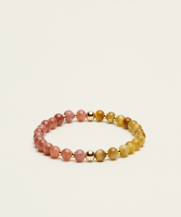 THE SUN-SEEKER BRACELET WITH SUNSTONE, GOLDEN TIGER'S EYE & 14K GOLD