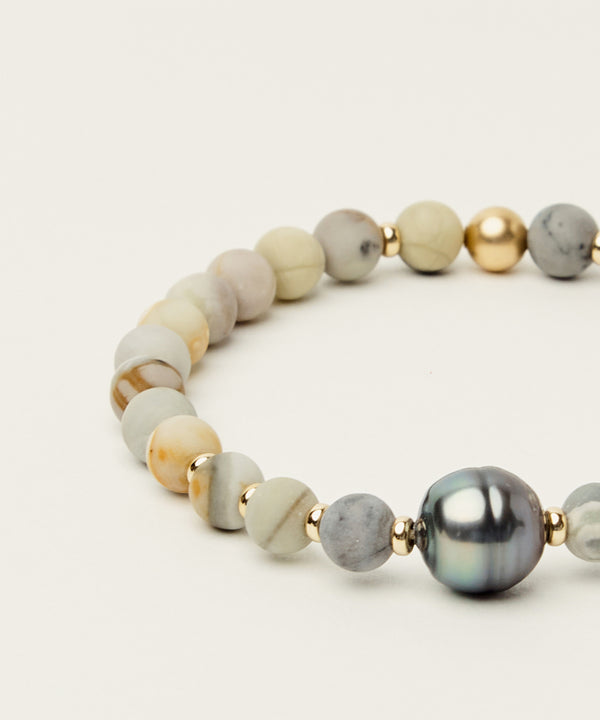 THE TAHITIAN NOBLE BRACELET WITH TAHITIAN PEARL, PICASSO JASPER & 14K GOLD