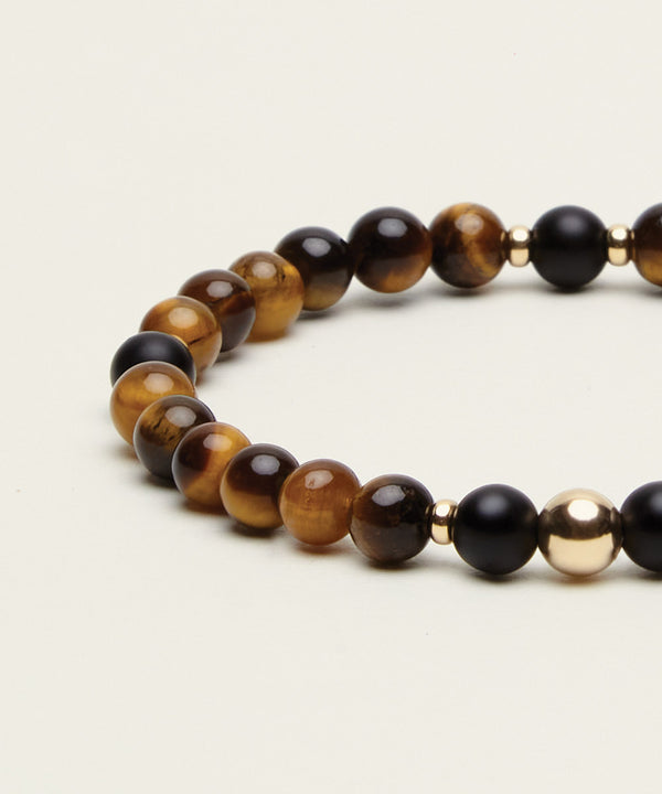 UNIVERSAL INSPIRATION BRACELET WITH TIGERS EYE, ONYX & 14K GOLD