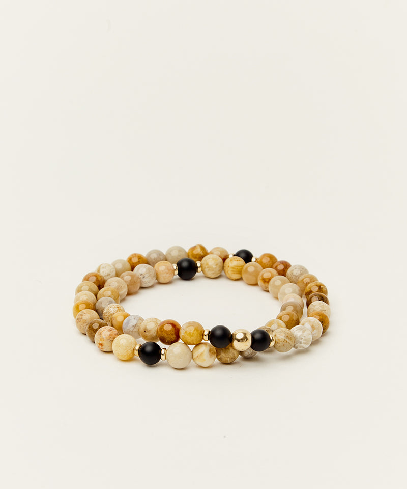 WRAP BRACELET WITH FOSSIL CORAL, ONYX & 14K GOLD