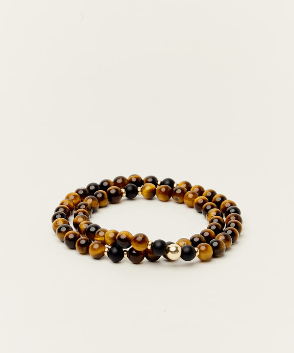 WRAP BRACELET WITH TIGERS EYE, ONYX & 14K GOLD
