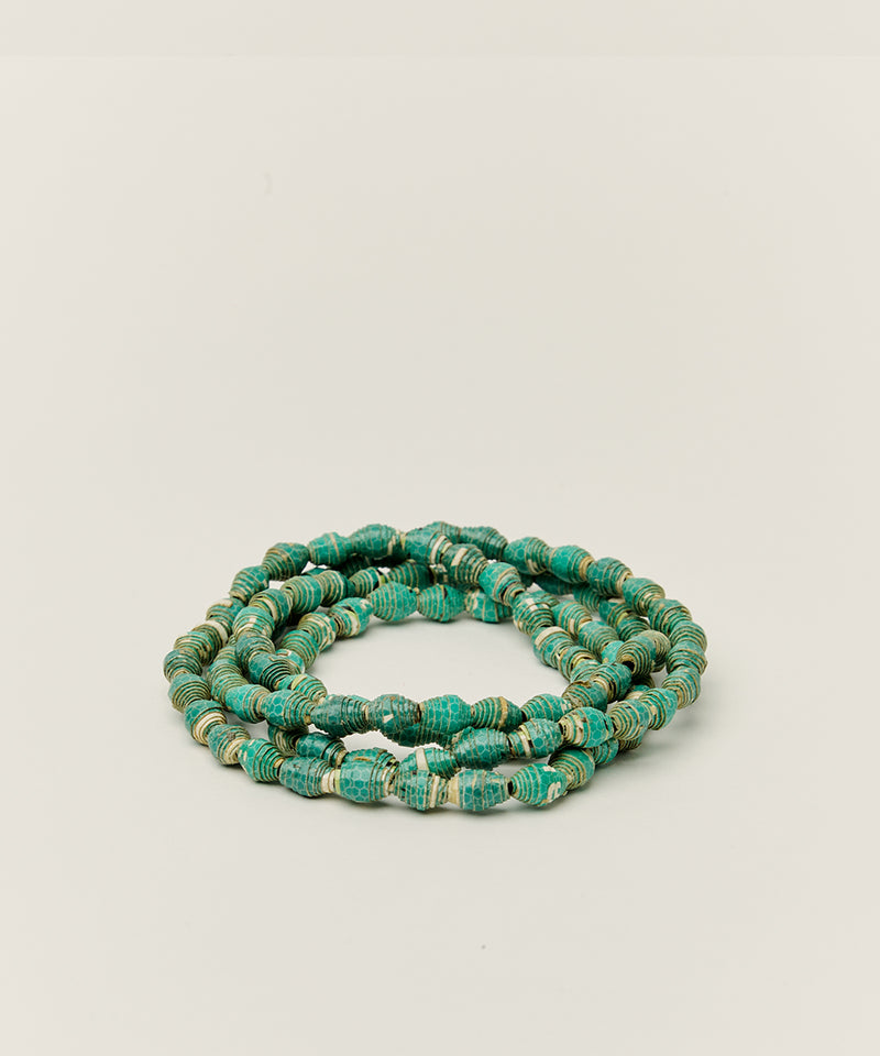 WRAP BRACELET / NECKLACE WITH UPCYCLED GREEN PAPER BEADS