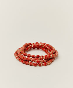 WRAP BRACELET / NECKLACE WITH UPCYCLED RED PAPER BEADS