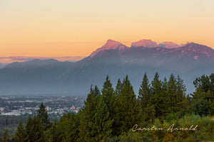 Mount Cheam Range at Sunset over Chilliwack canvas print