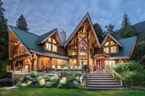 Architectural Photography - Log Home Exterior at Twilight