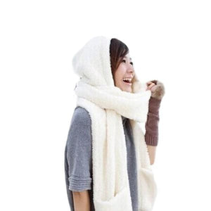 Conjoined Hat Scarf Gloves Set - looshore