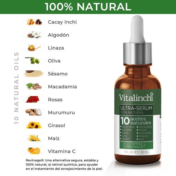 Ultra Serum: 10 Aceites Naturales con Cacay Inchi + Vitamina C + Revinage