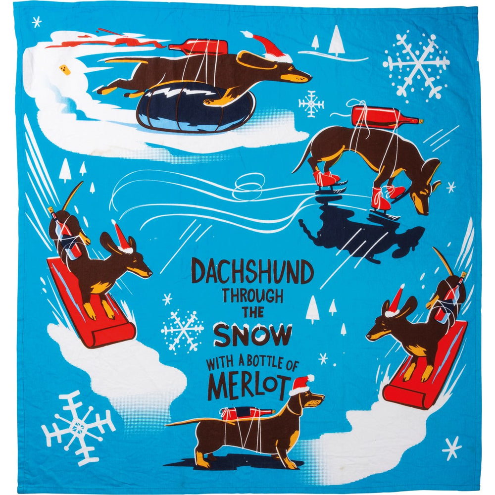 Dachshund Through The Snow - Kitchen Towel