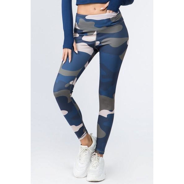 Camouflage High Rise Leggings  -- Blue