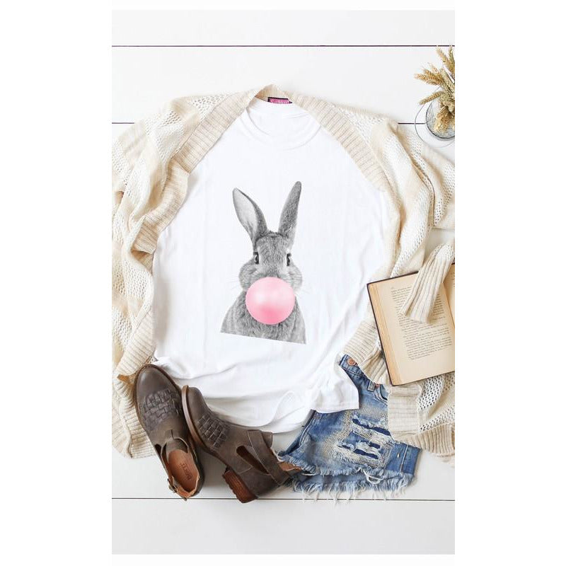 Bunny Blowing Bubble Gum Bubble Graphic Tee