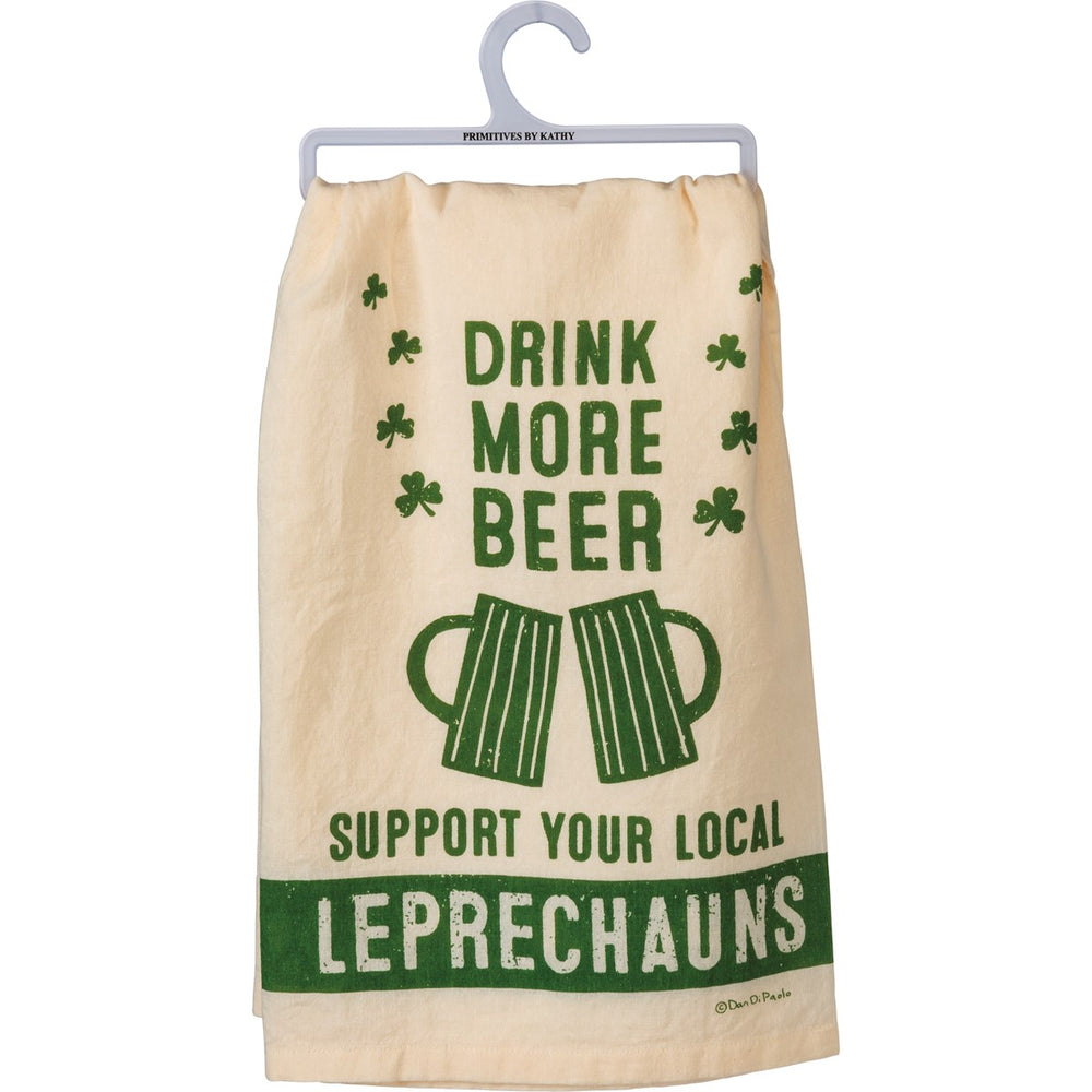 """Drink More Beer Support Leprechauns"" Kitchen Towel by PBK"