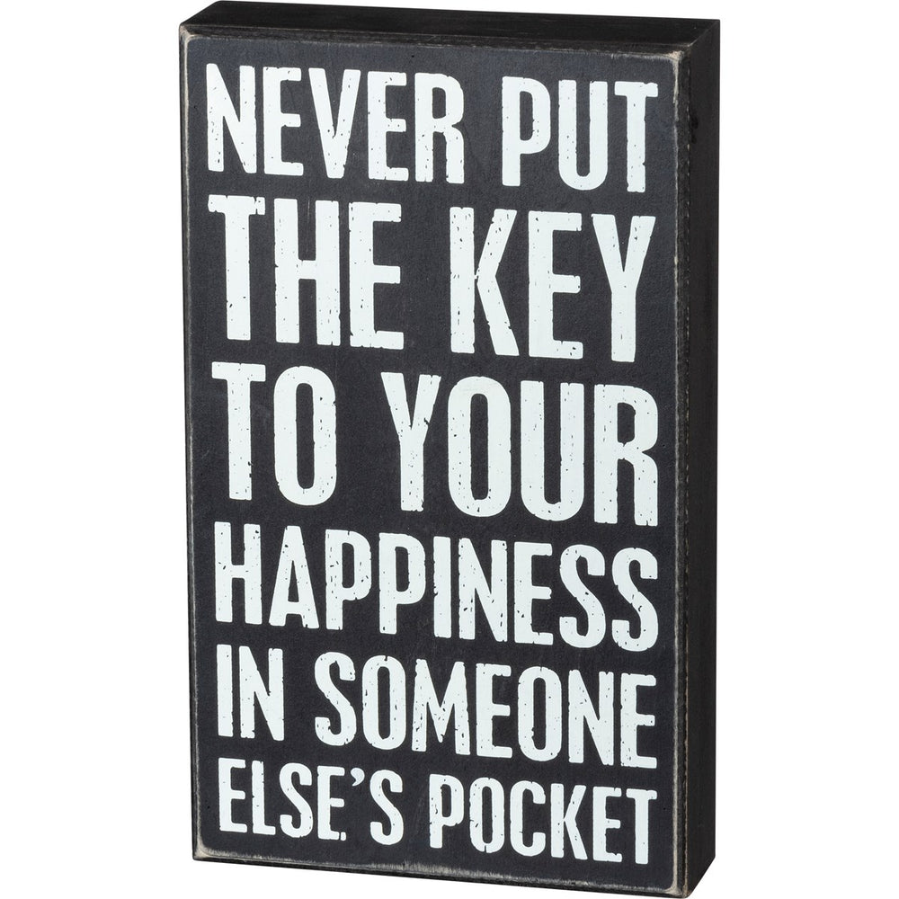 Key To Happiness -- Box Sign by PBK