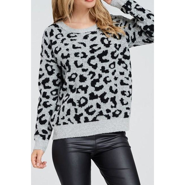 Esme Long Sleeve Cheetah Sweater