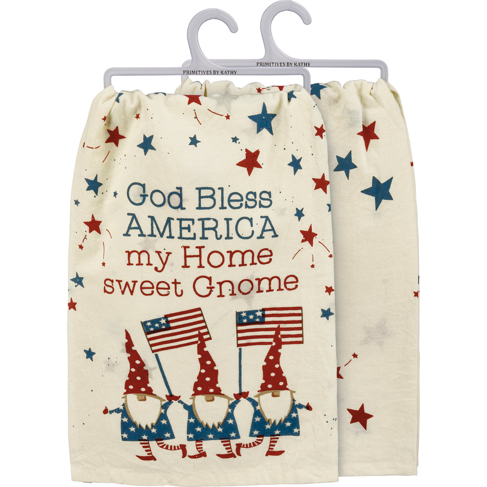 God Bless America My Home Sweet Gnome Kitchen Towel by PBK