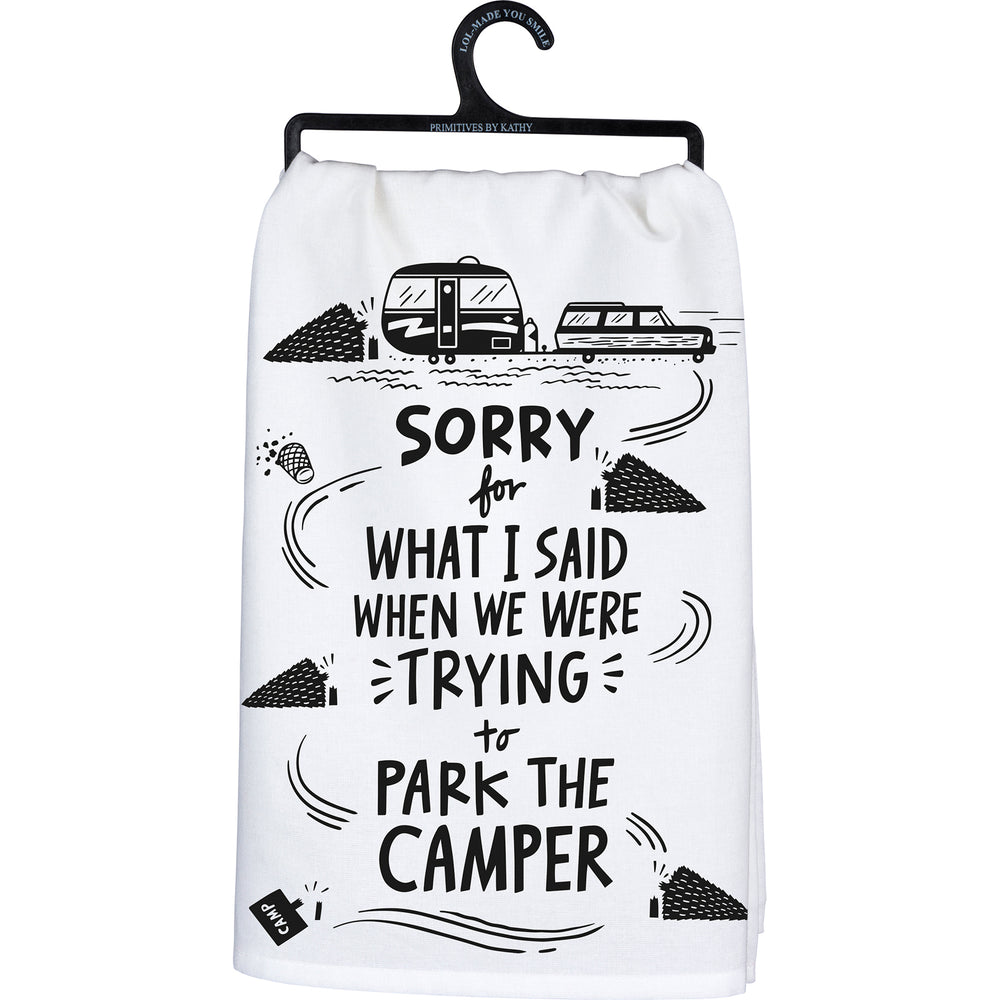 We Were Trying To Park The Camper Kitchen Towel by PBK