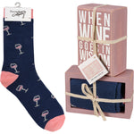 Wine Goes In Box Sign & Sock Set by PBK