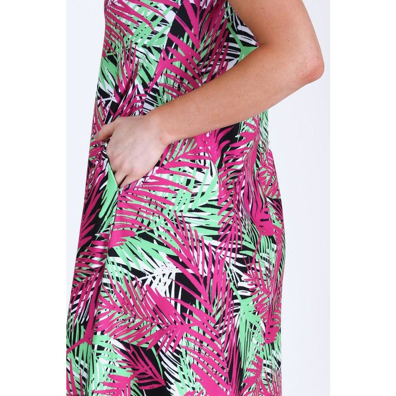 Multi Colored Palm Leaf Dress with Pockets