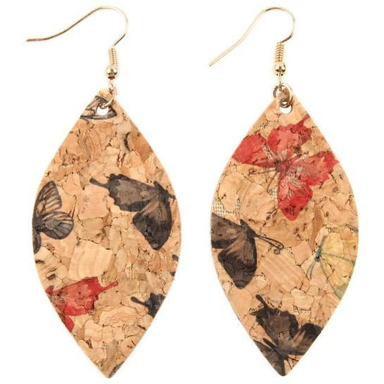 Butterfly Cork Floral Earrings -- Choice of Color