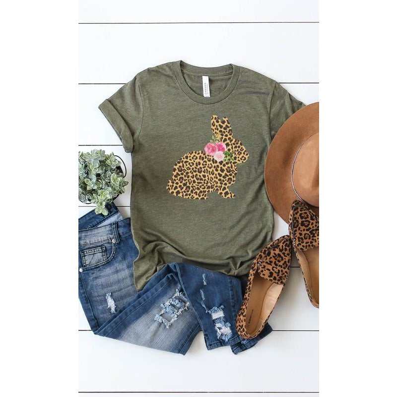 Leopard Bunny Flower Graphic Tee