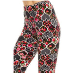 Hearts And Floral Mix Print Leggings
