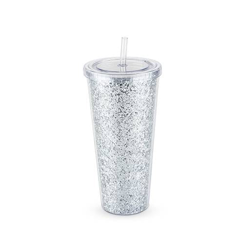 Glam Silver Double Walled Glitter Tumbler