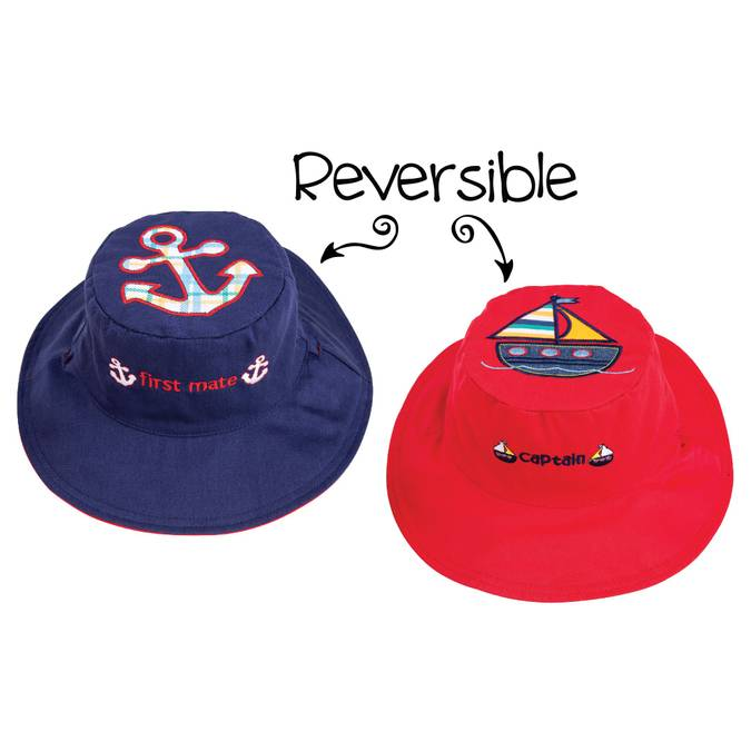 Reversible Kids' Sun Hat - Anchor / Sailboat