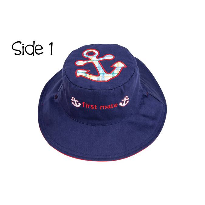 Reversible Kids' Sun Hat - Anchor / Sailboat - BFF Here