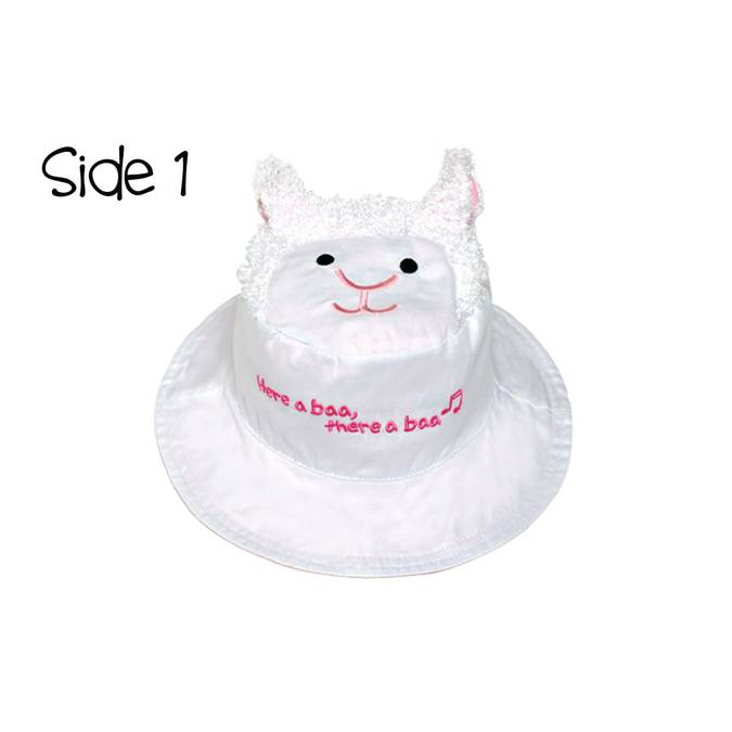 Reversible Kids' Sun Hat - Lamb / Kitten