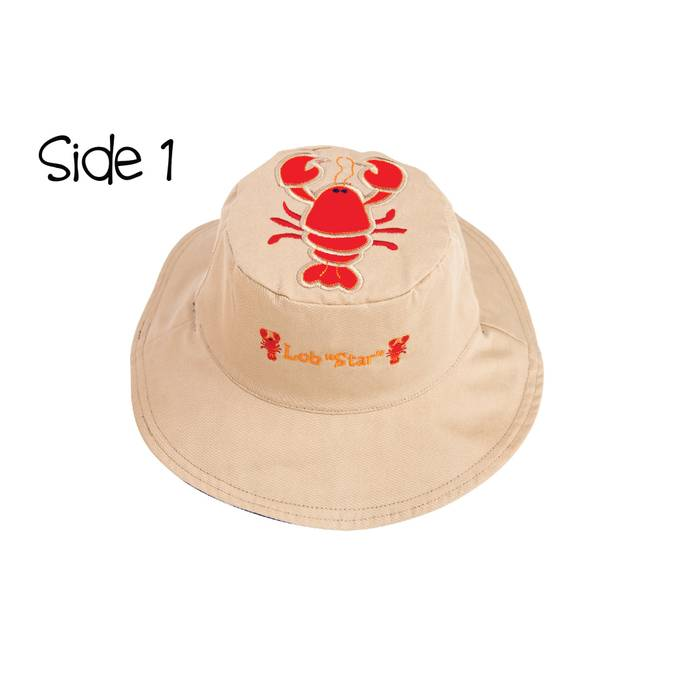 Reversible Kids' Sun Hat - Lobster / Whale - BFF Here