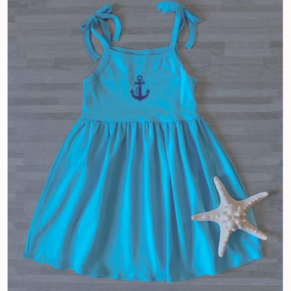 Toddler Beach Tie Dress - Turquoise/Salty Anchor -- Choice of Size