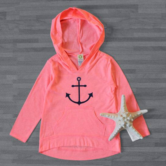 Girls' Neon Hoodie - Melon/Anchor -- Choice of Size