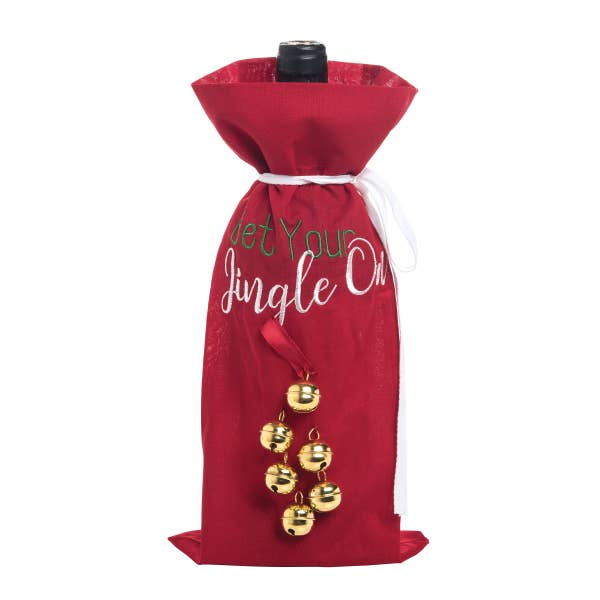 Get Your Jingle On Embroidered Wine Bag