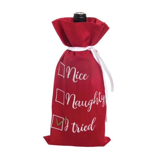 Nice Naughty I Tried Embroidered Wine Bag