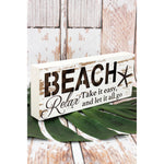 'Beach' Wood Box Sign
